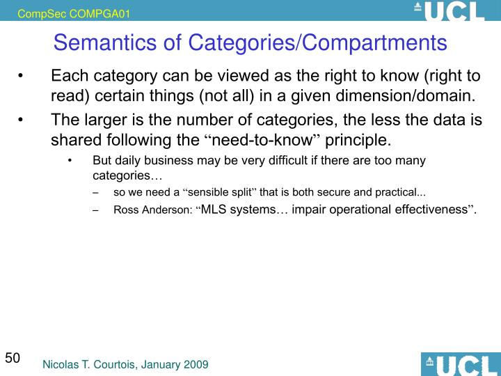 Semantics of Categories/Compartments