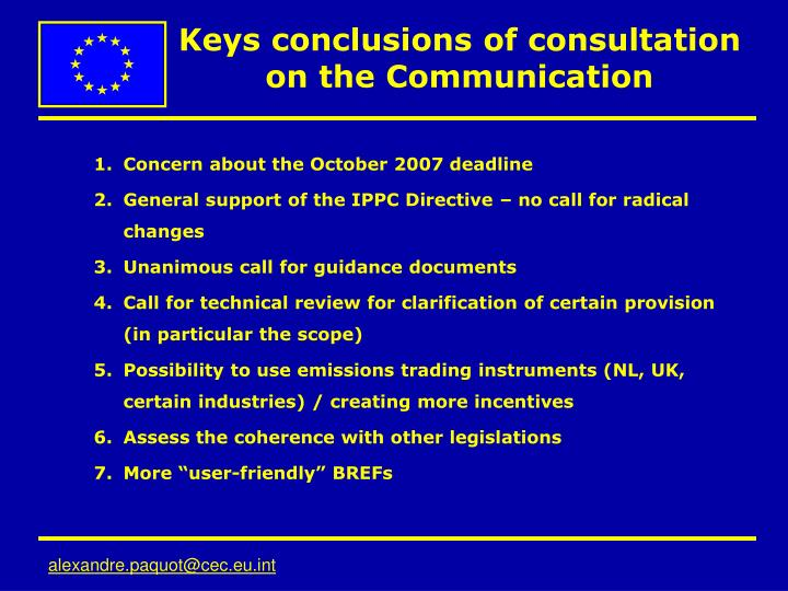 Keys conclusions of consultation on the Communication