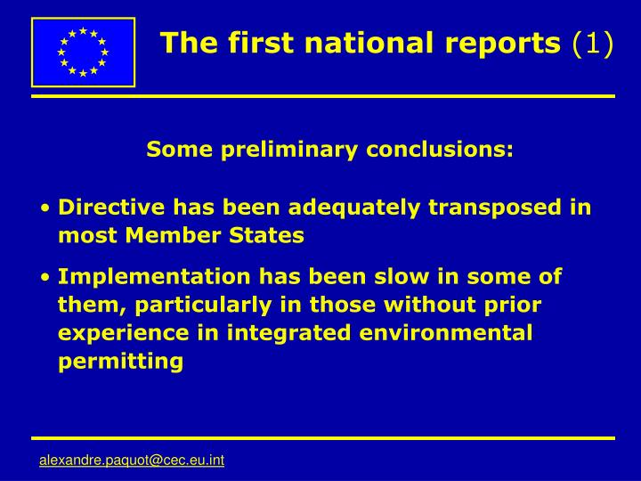 The first national reports 1