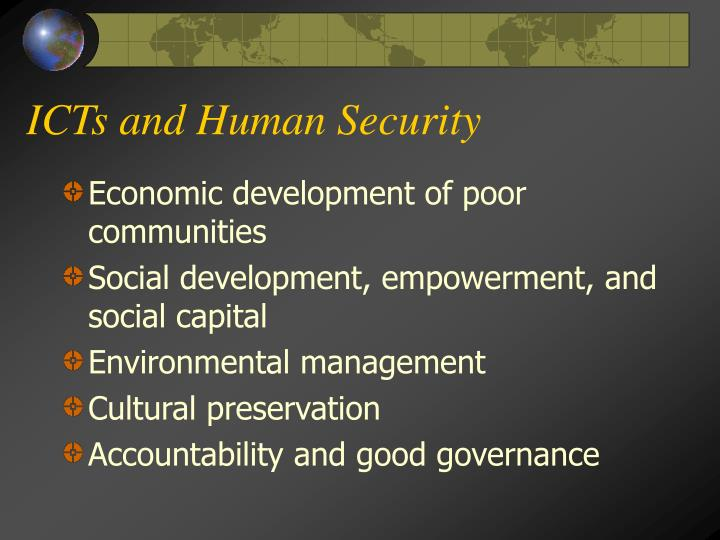 ICTs and Human Security
