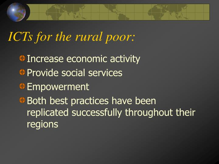 ICTs for the rural poor: