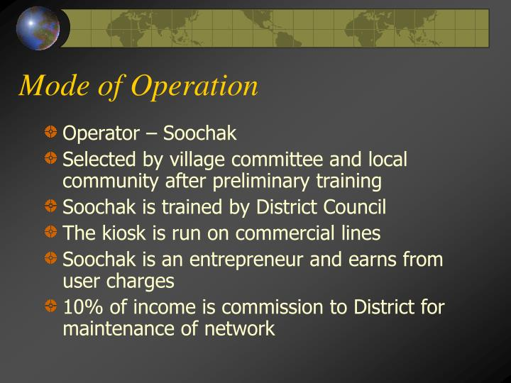 Mode of Operation