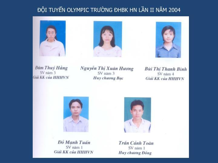 ĐỘI TUYỂN OLYMPIC TRƯỜNG ĐHBK HN LẦN II NĂM 2004
