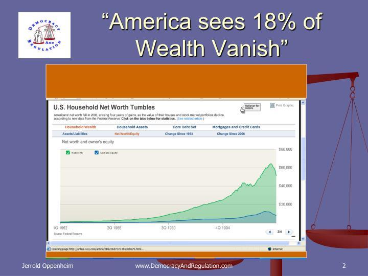 """America sees 18% of Wealth Vanish"""