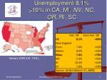unemployment 8 1 10 in ca mi nv nc or ri sc