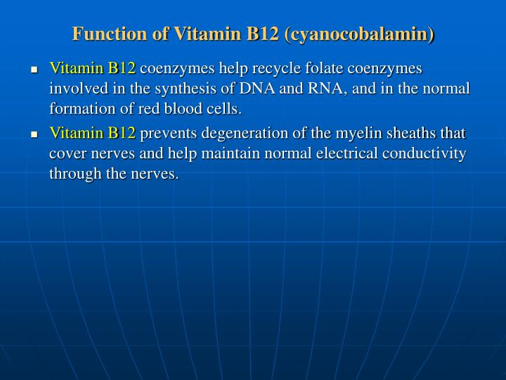 Function of Vitamin B12 (cyanocobalamin)