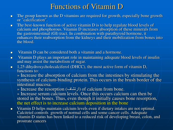Functions of Vitamin D
