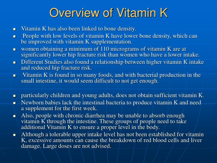 Overview of Vitamin K