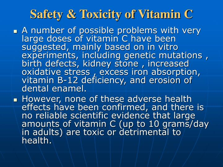 Safety & Toxicity of Vitamin C