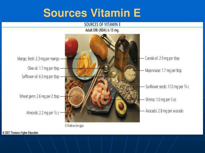 Sources Vitamin E