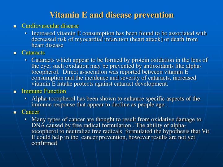 Vitamin E and disease prevention