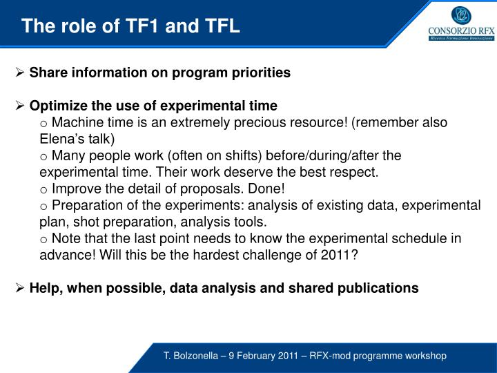 The role of TF1 and TFL