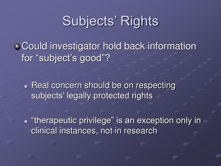 Subjects' Rights