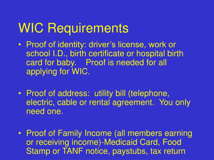 WIC Requirements