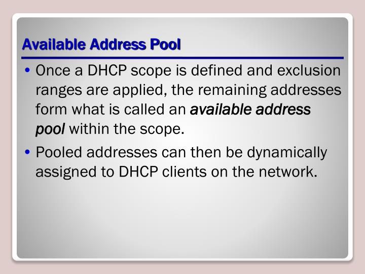 Available Address Pool