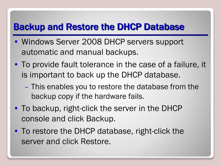 Backup and Restore the DHCP Database