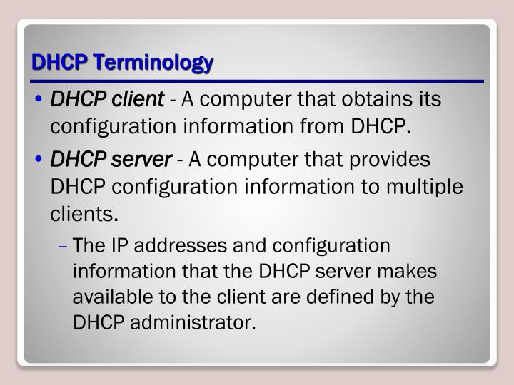 DHCP Terminology