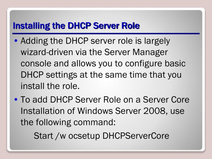 Installing the DHCP Server Role