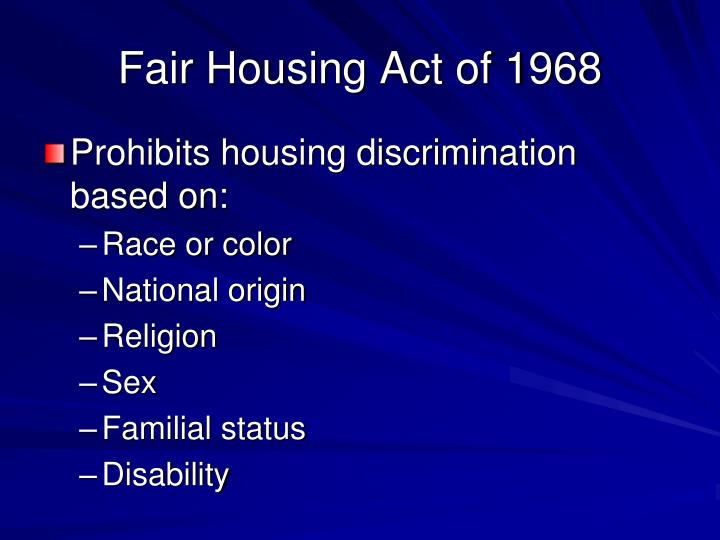 Fair Housing Act of 1968