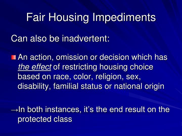 Fair Housing Impediments
