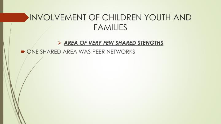 INVOLVEMENT OF CHILDREN YOUTH AND FAMILIES