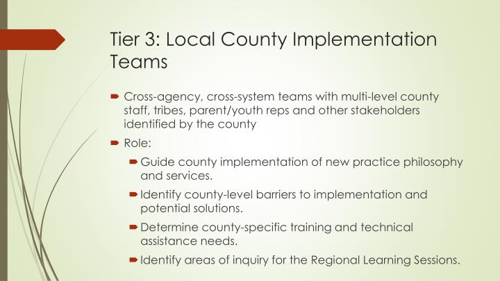 Tier 3: Local County Implementation Teams