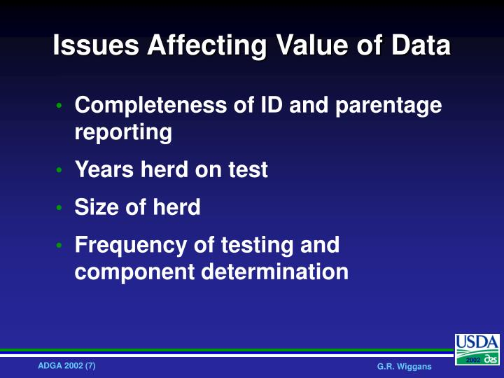 Issues Affecting Value of Data