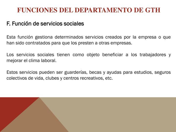 FUNCIONES DEL DEPARTAMENTO DE GTH
