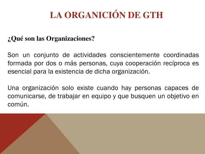 LA ORGANICIÓN DE GTH