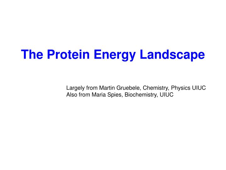 The Protein Energy Landscape