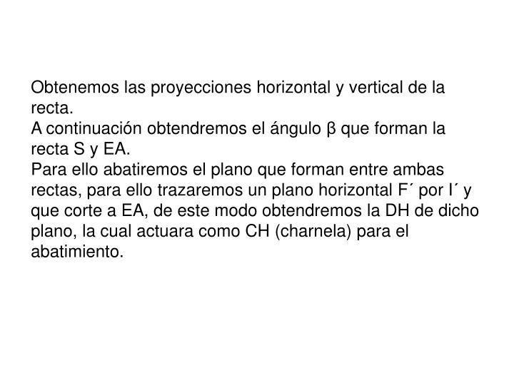 Obtenemos las proyecciones horizontal y vertical de la recta.
