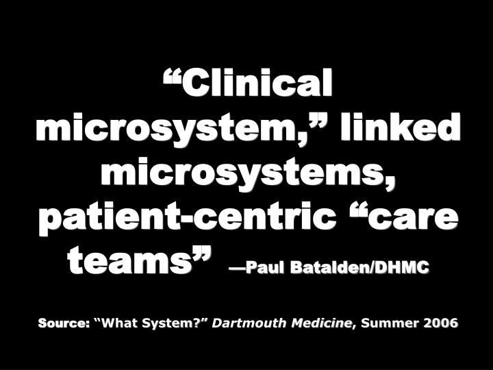 """Clinical microsystem,"" linked microsystems,"