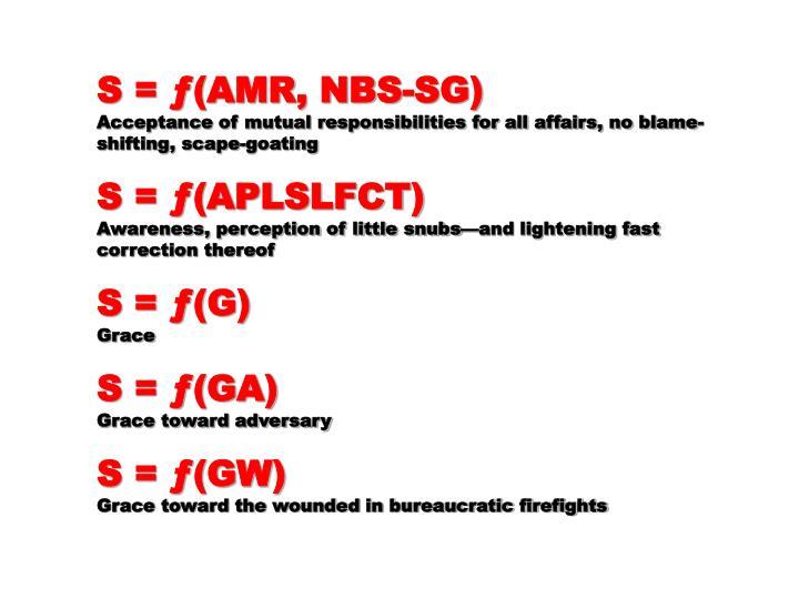 S = ƒ(AMR, NBS-SG)