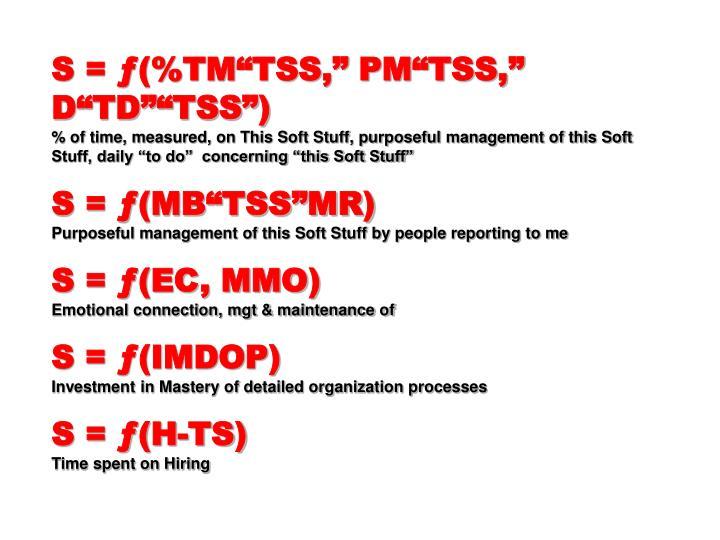 """S = ƒ(%TM""""TSS,"""" PM""""TSS,"""" D""""TD""""""""TSS"""")"""