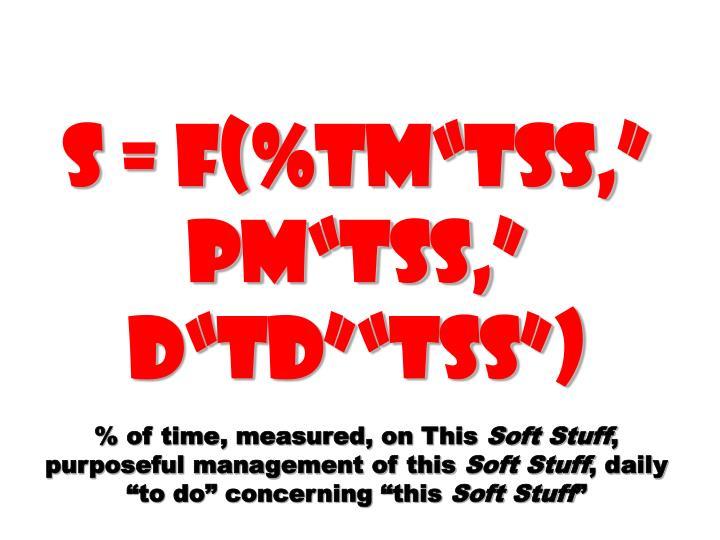 """S = f(%TM""""TSS,"""" PM""""TSS,"""" D""""TD""""""""TSS"""")"""