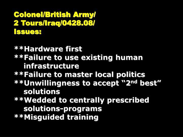 Colonel/British Army/