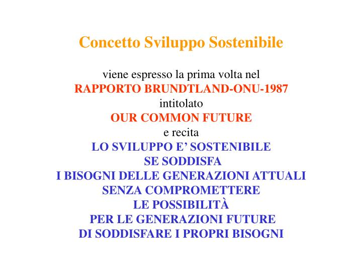 Concetto Sviluppo Sostenibile