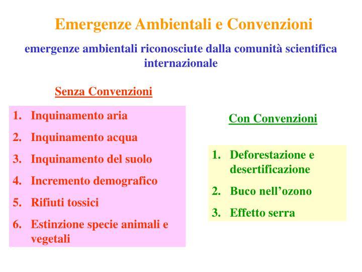 Emergenze Ambientali e Convenzioni