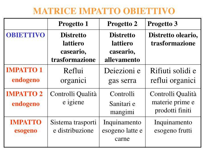 MATRICE IMPATTO OBIETTIVO