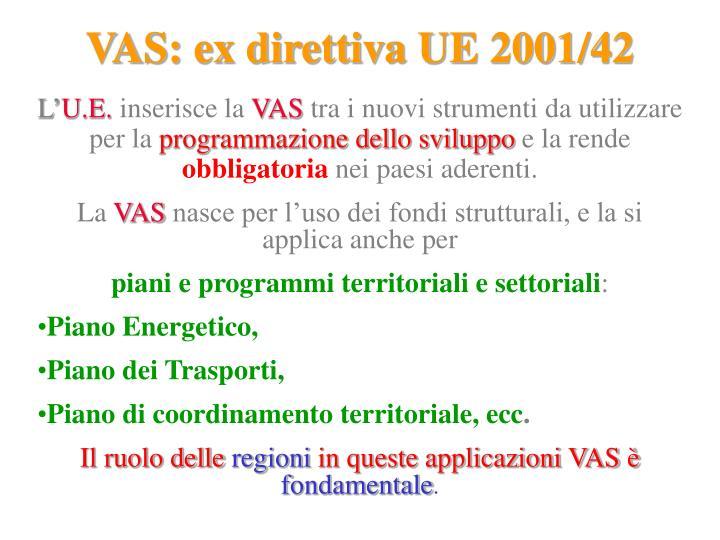 VAS: ex direttiva UE 2001/42