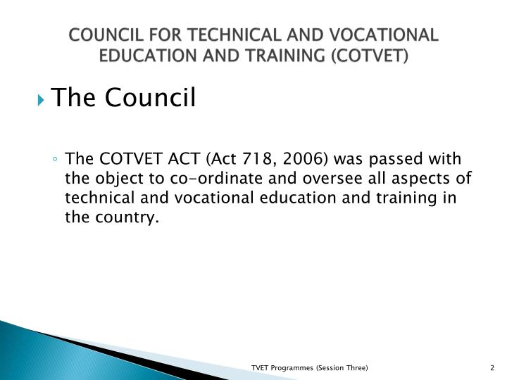 Council for technical and vocational education and training cotvet