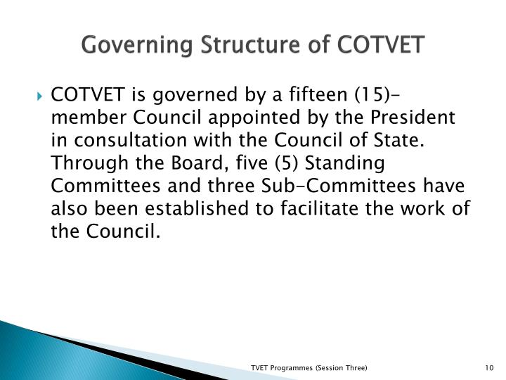 Governing Structure of COTVET