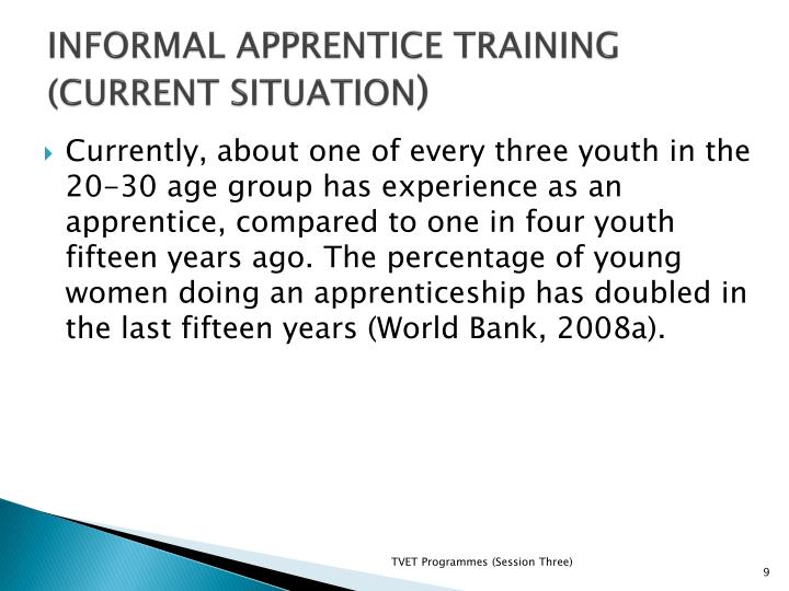 INFORMAL APPRENTICE TRAINING (CURRENT SITUATION