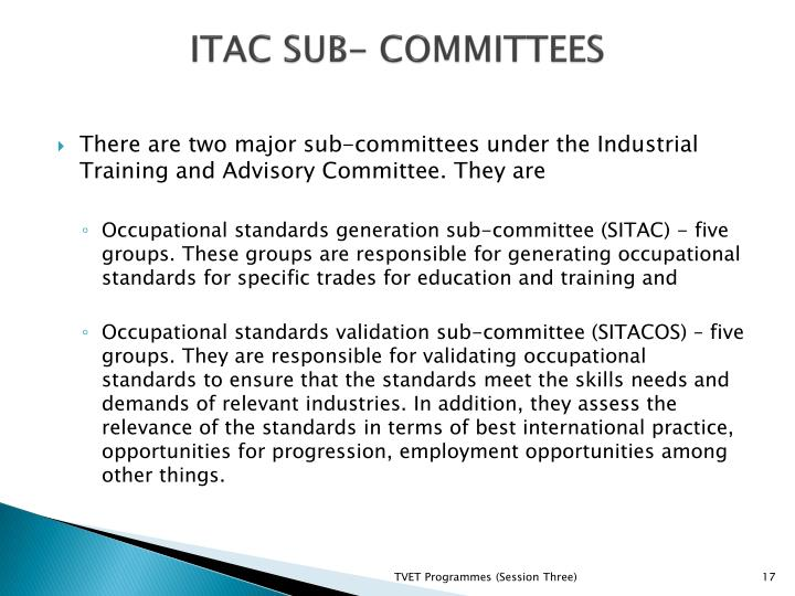 ITAC SUB- COMMITTEES
