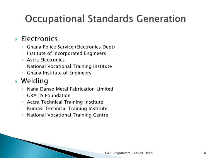 Occupational Standards Generation