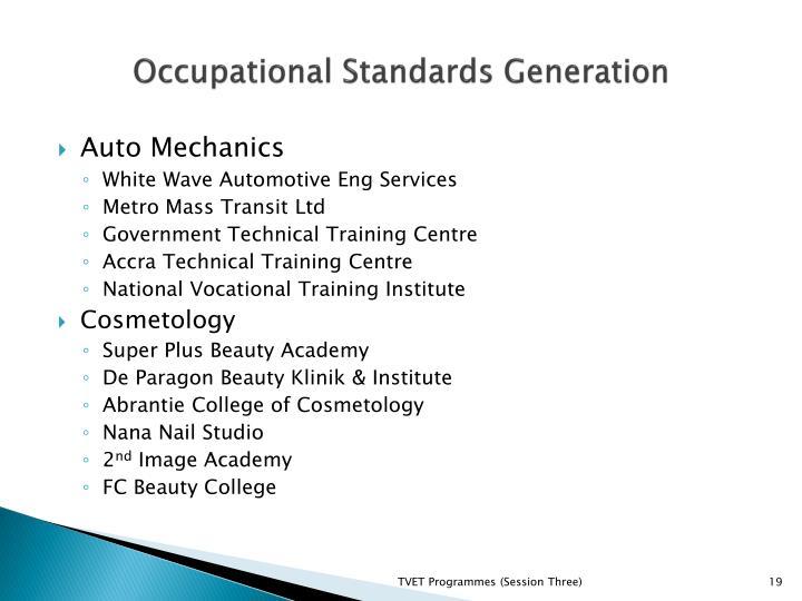 Occupational Standards Generation
