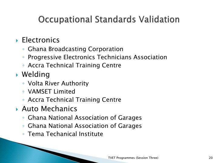 Occupational Standards Validation