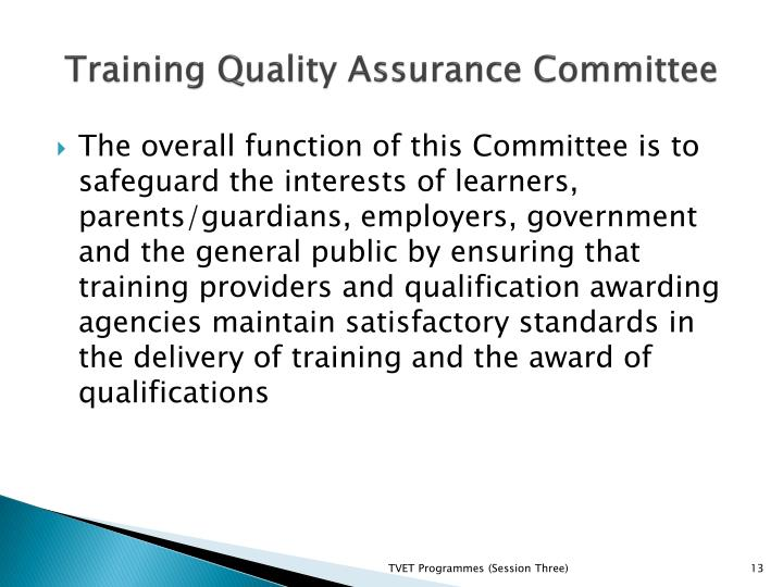 Training Quality Assurance Committee