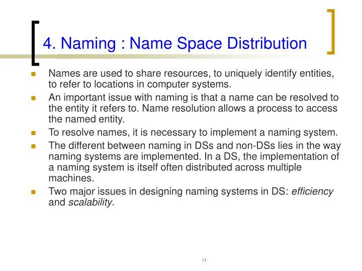 4. Naming : Name Space Distribution