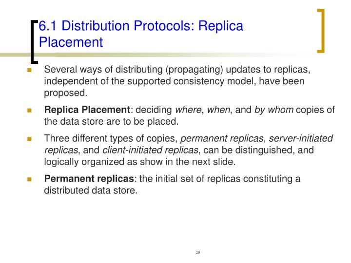 6.1 Distribution Protocols: Replica Placement